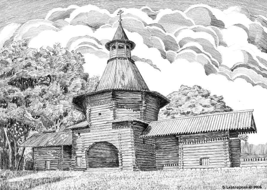 Церковь в Коломенском.  Ватман, тушь карандаш. 20х28 см. 2006 г.