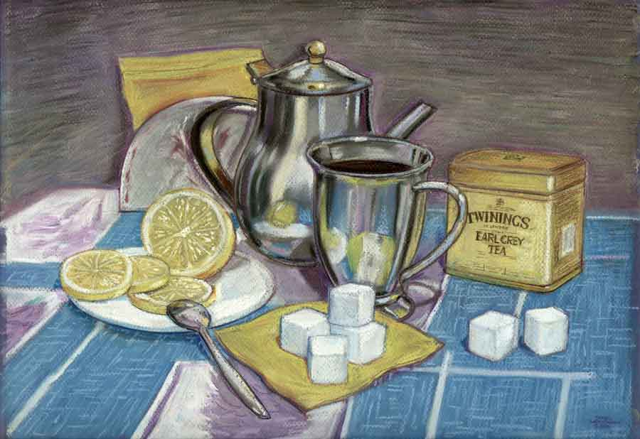 Натюрморт с желтым Твайнингсом.   Пастель, пастельный карандаш. 2006 г.