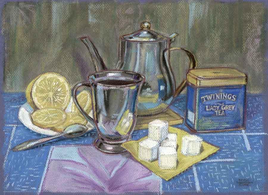 Лимоны и чай. 34х25см.  Картон. Пастель, пастельный карандаш. 2006 г.