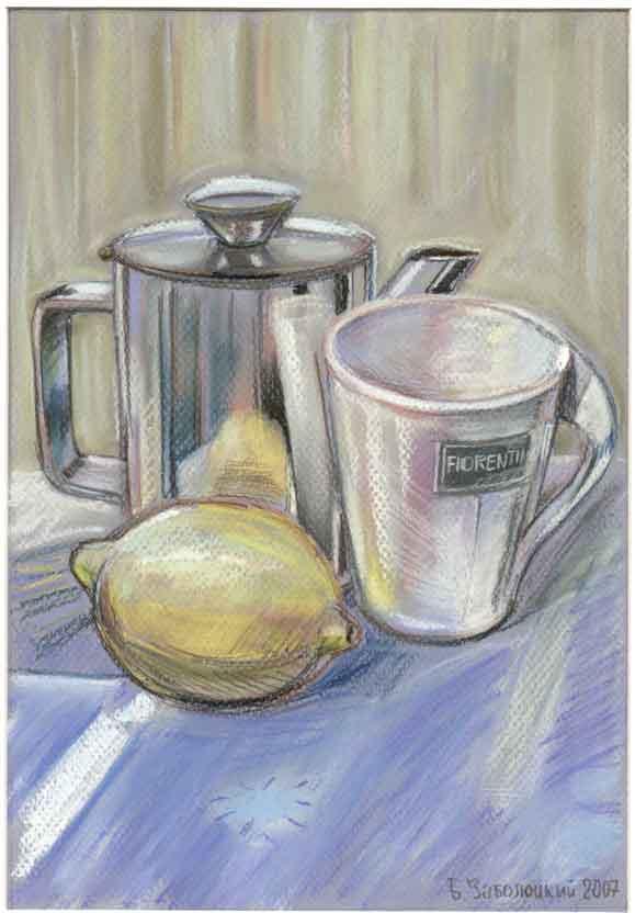 Белая кружка и лимон. 20х29см.  Картон. Пастель, пастельный карандаш. 2006 г.