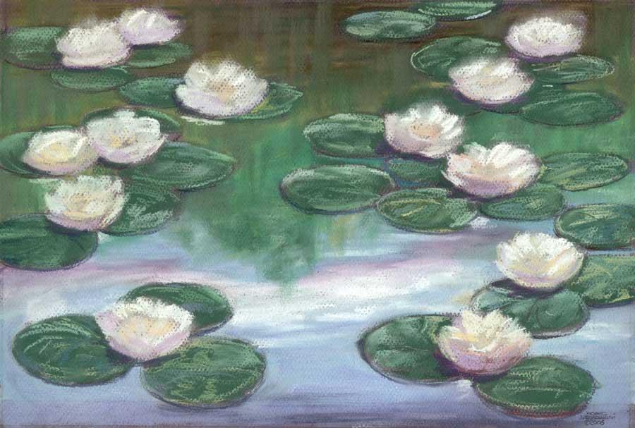 Водяные лилии. Картон,пастель. 26х39см. 2006 год.